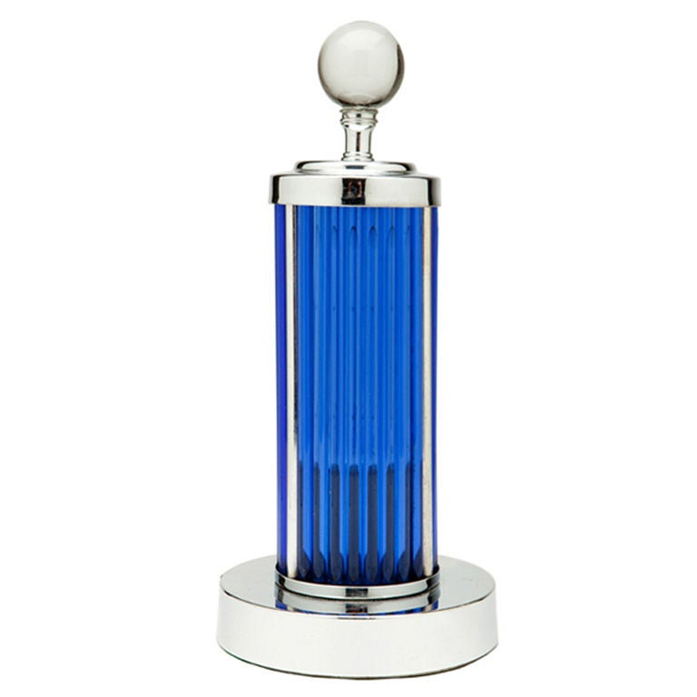 chrome and cobalt blue glass rods table lamp at 1stdibs. Black Bedroom Furniture Sets. Home Design Ideas