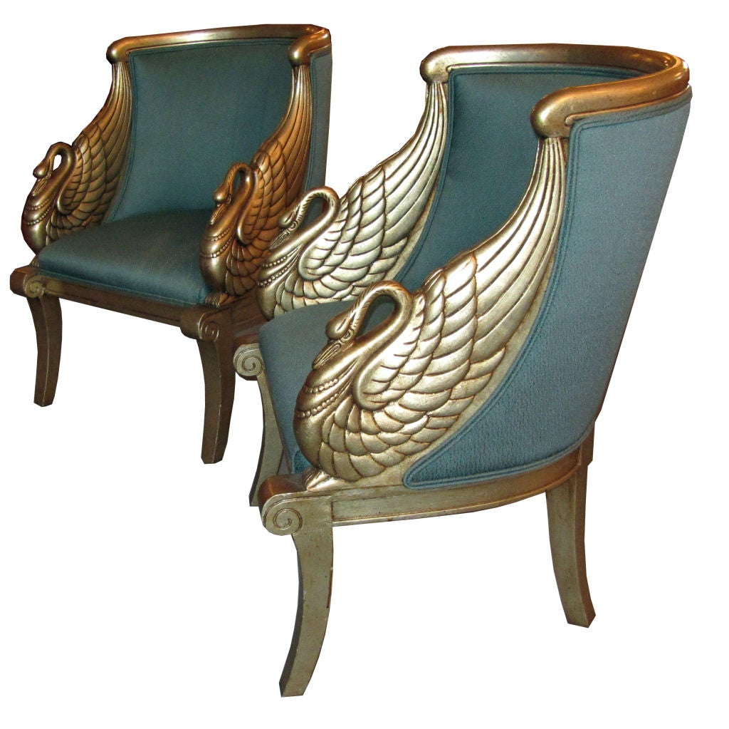 Pair american art deco neoclassical silver leaf swan arm chairs image