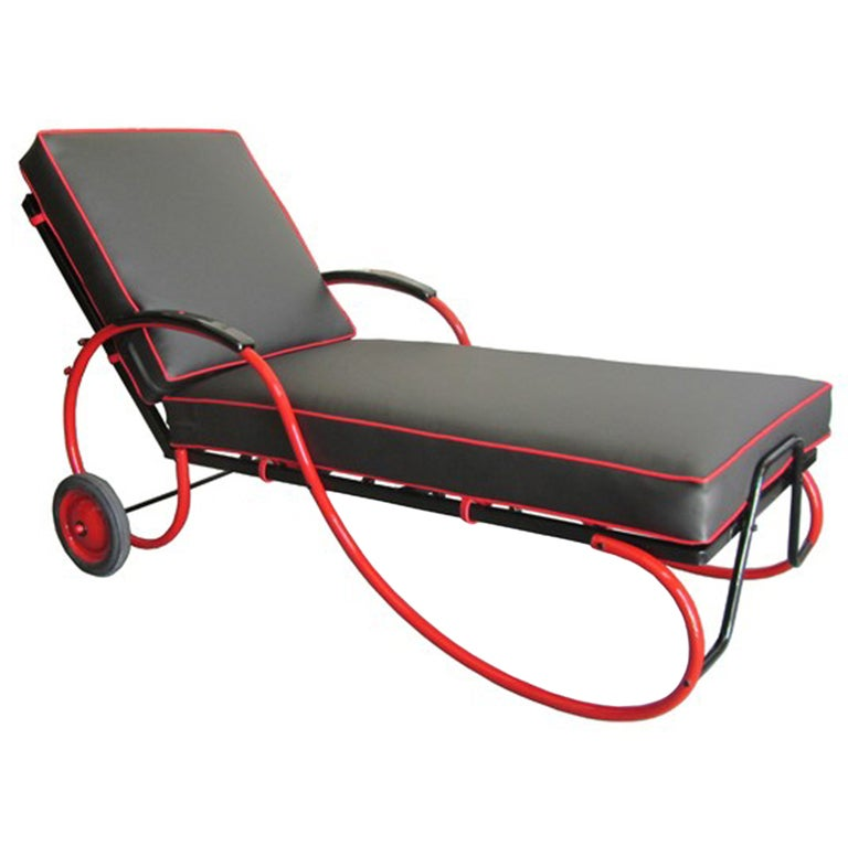 American art deco black and red chaise longue at 1stdibs for Chaise longue deco