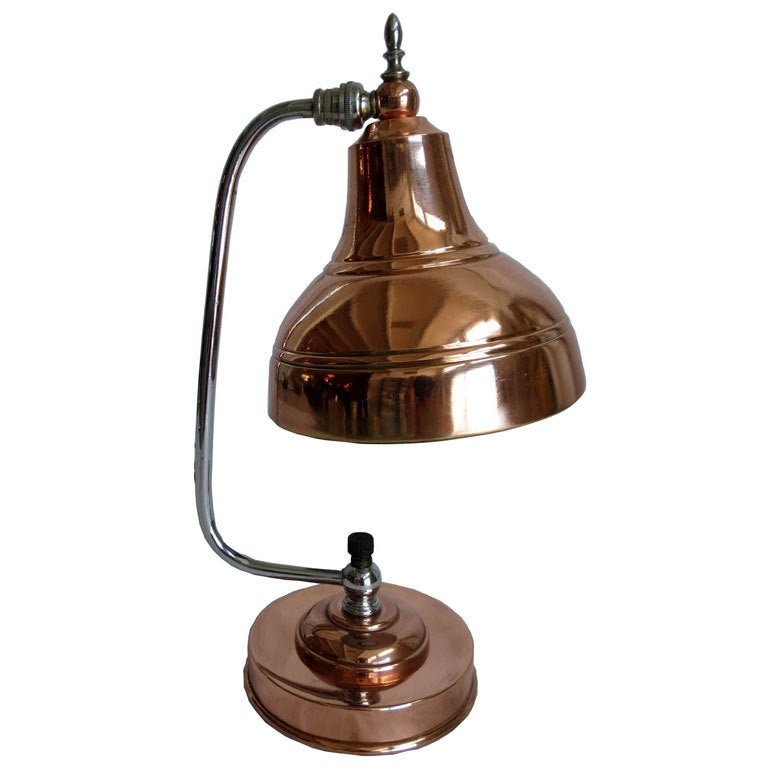 Markel American Art Deco Copper And Chrome Table Lamp At