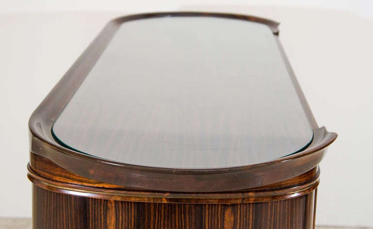 Late 20th Century Art Moderne Bar or Serving Cabinet in Macassar Ebony For Sale