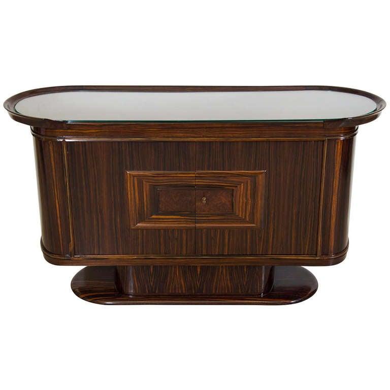 Art Moderne Bar or Serving Cabinet in Macassar Ebony 1