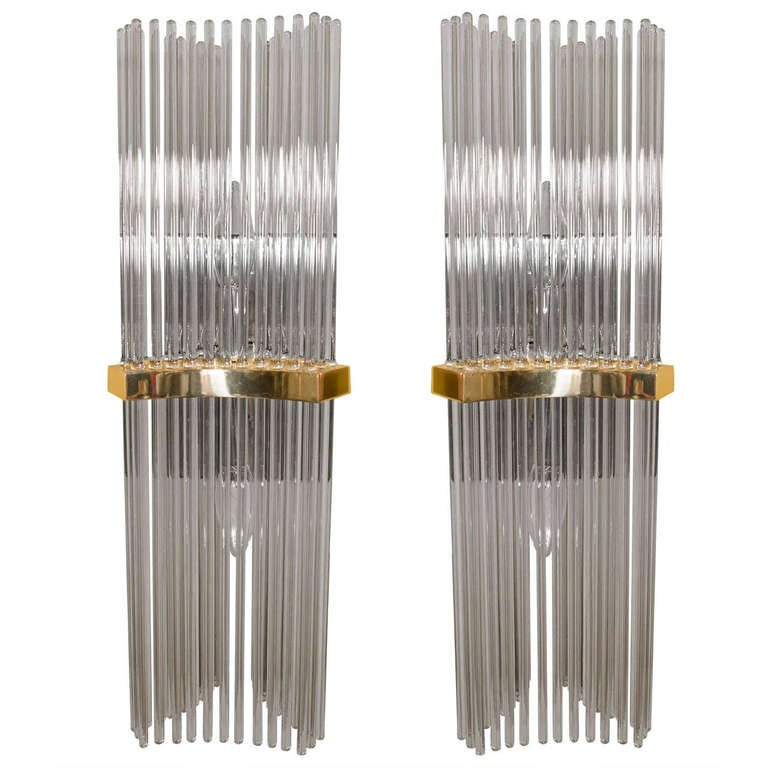 Smoke Crystal Wall Lights : Pair of Wall Sconces by Gaetano Sciolari with Smoke Tinted Crystal Rods at 1stdibs