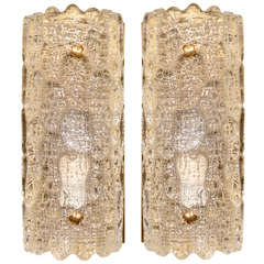 Pair of Orrefors Glass Sconces by Carl Fagerlund