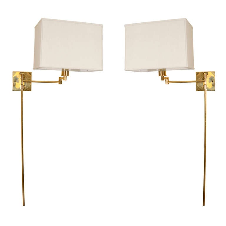 pair brass swing arm wall sconces by hansen at 1stdibs brass swing arm wall