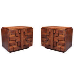 Pair of Bold and Sculptural Nightstands or End Tables