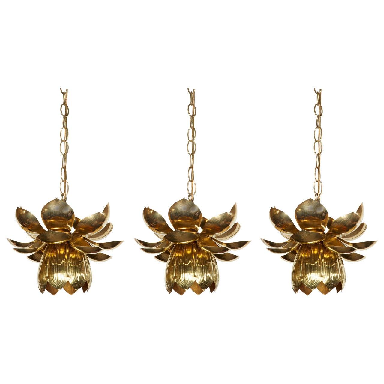 Beautiful Set Of Three Brass Lotus Pendant Lights By