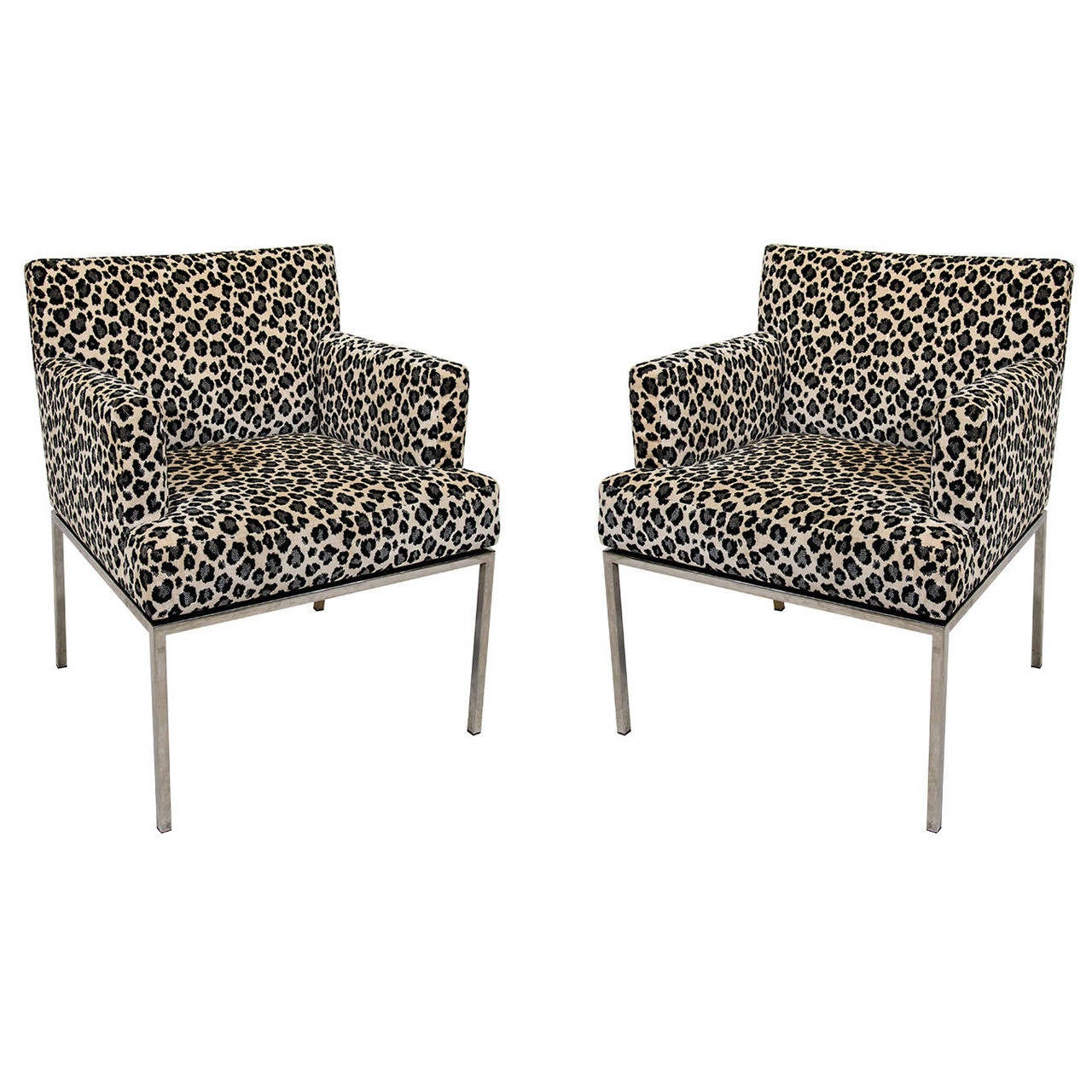 Pair Of Leopard Print Modernist Lounge Chairs At 1stdibs