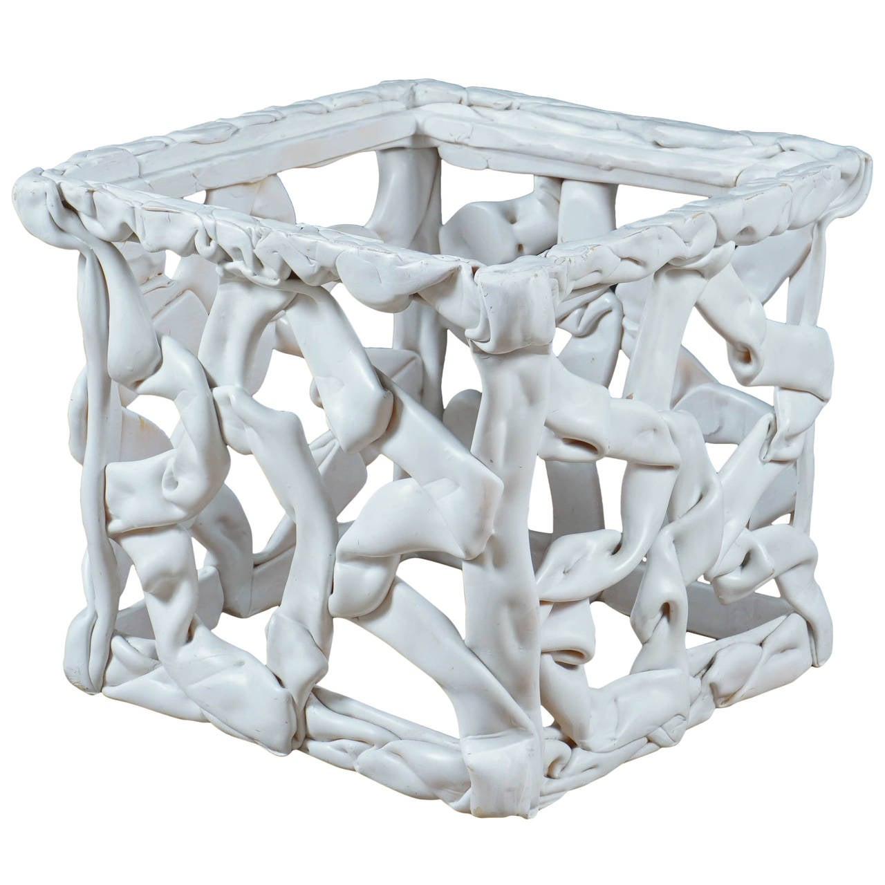 White Resin Ribbon End Table