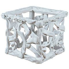 White Resin Ribbon End Table