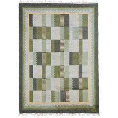 "Large Swedish mid-century ""rollakan"" flat weave rug by Eva-Lisa Nordin"