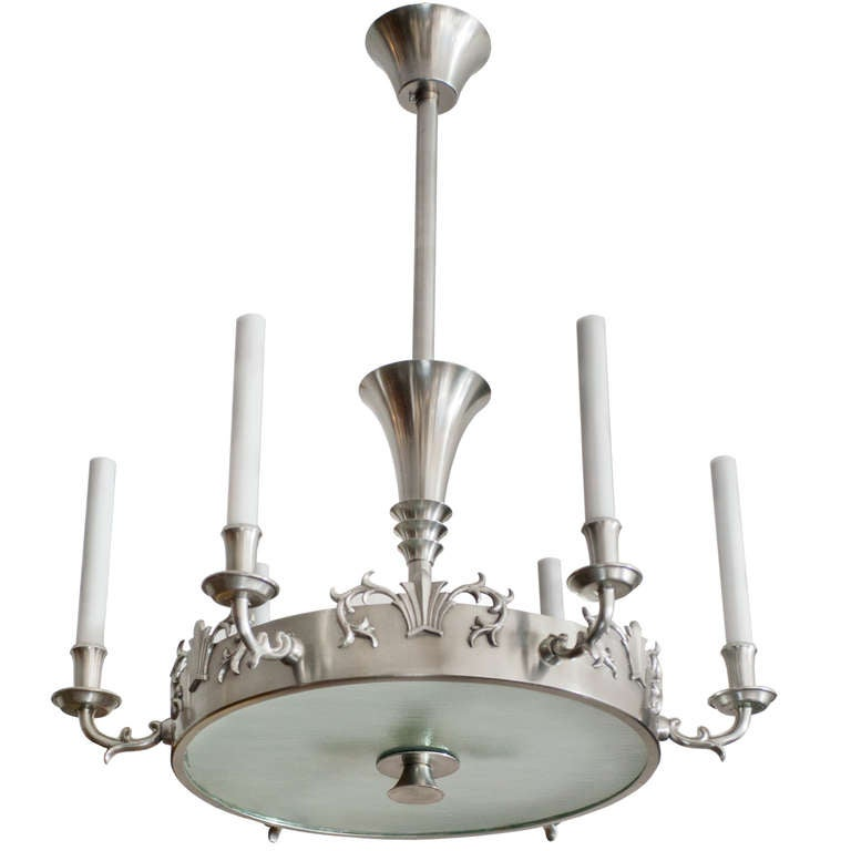 Swedish art deco 6 arm pewter chandelier by carl tingstrom at 1stdibs swedish art deco 6 arm pewter chandelier by carl tingstrom for sale aloadofball Image collections