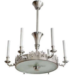 Swedish Art Deco 6-arm pewter chandelier by Carl Tingstrom