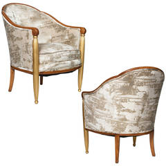 Pair of French Art Deco Parcel-Gilt Bergères Chairs in Velvet
