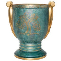 Scandinavian Modern Josef Ekberg vase luster glaze with tree, Gustavsberg