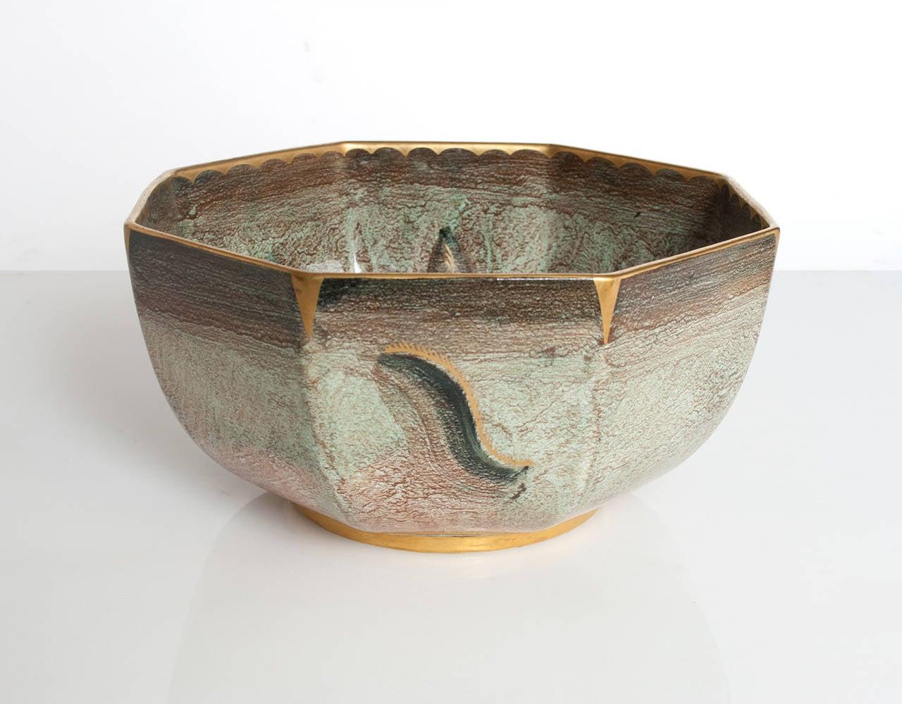 Large Scandinavian Modern Ceramic Bowl With Luster Glaze
