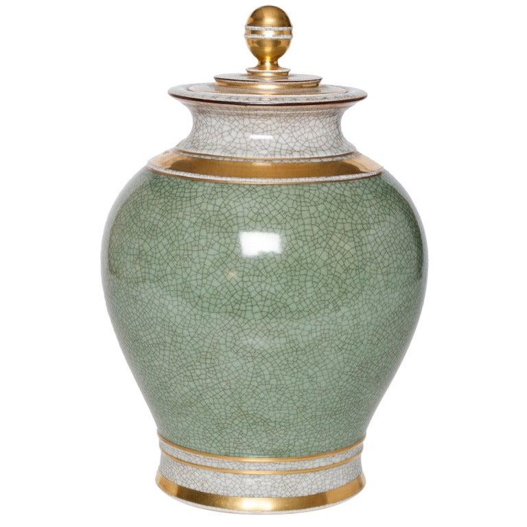 Large Scandinavian Modern Royal Copenhagen Green Crackle Glaze Vase