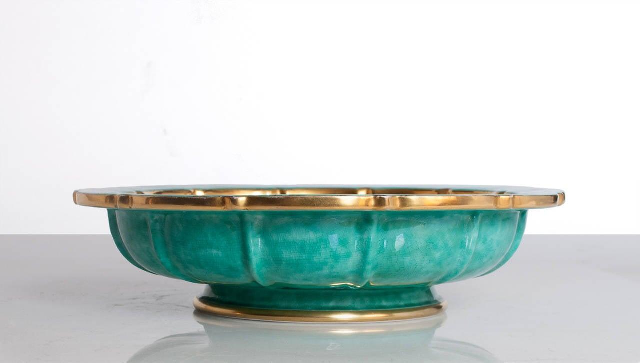 scandinavian modern bowl by wilhelm kage for gustavsberg gold and  - scandinavian modern bowl by wilhelm kage for gustavsberg gold and green