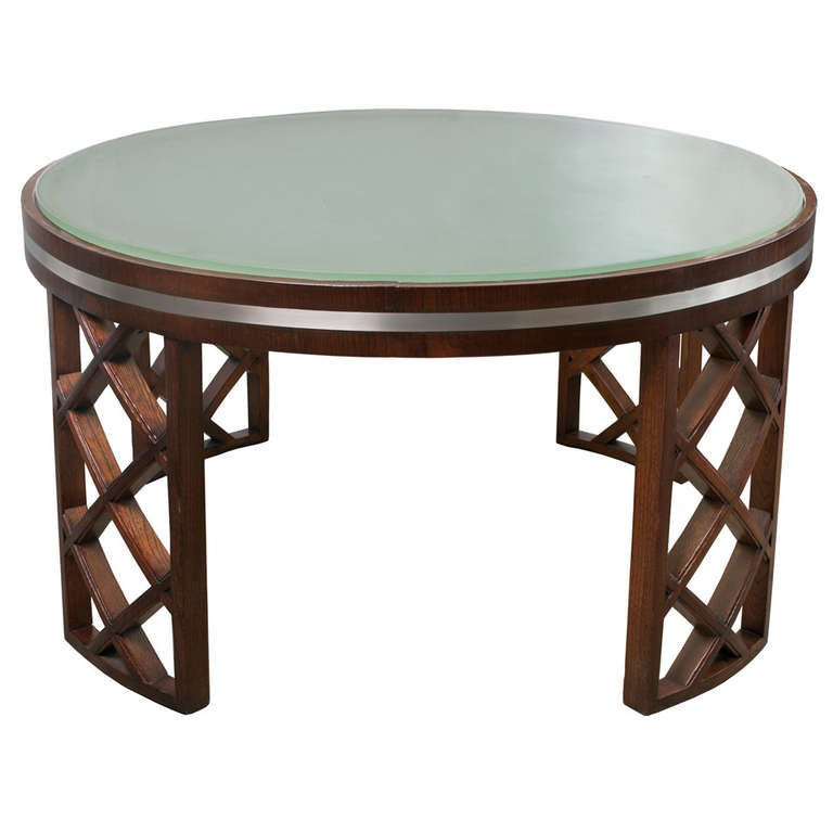 Swedish Art Deco Coffee Table With Lattice Framed Legs Metal Insert And Acid Etched Glass Top