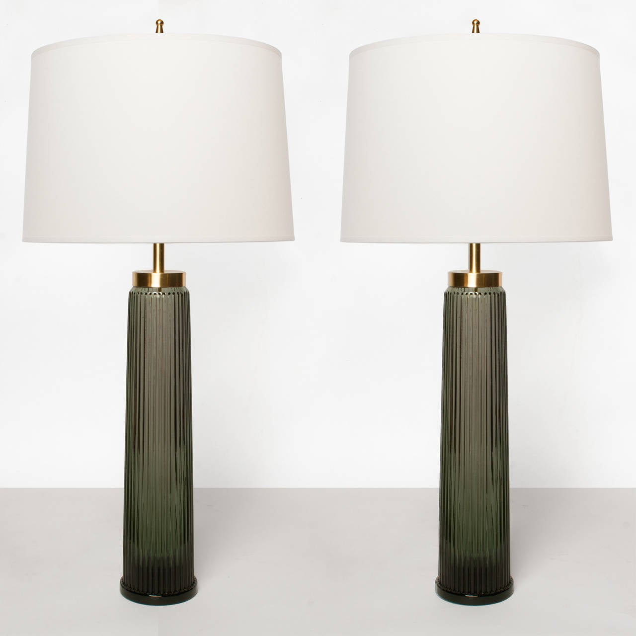 Pair Of Swedish Mid Century Dark Gray Green Glass Table Lamps By AB  Stilarmatur