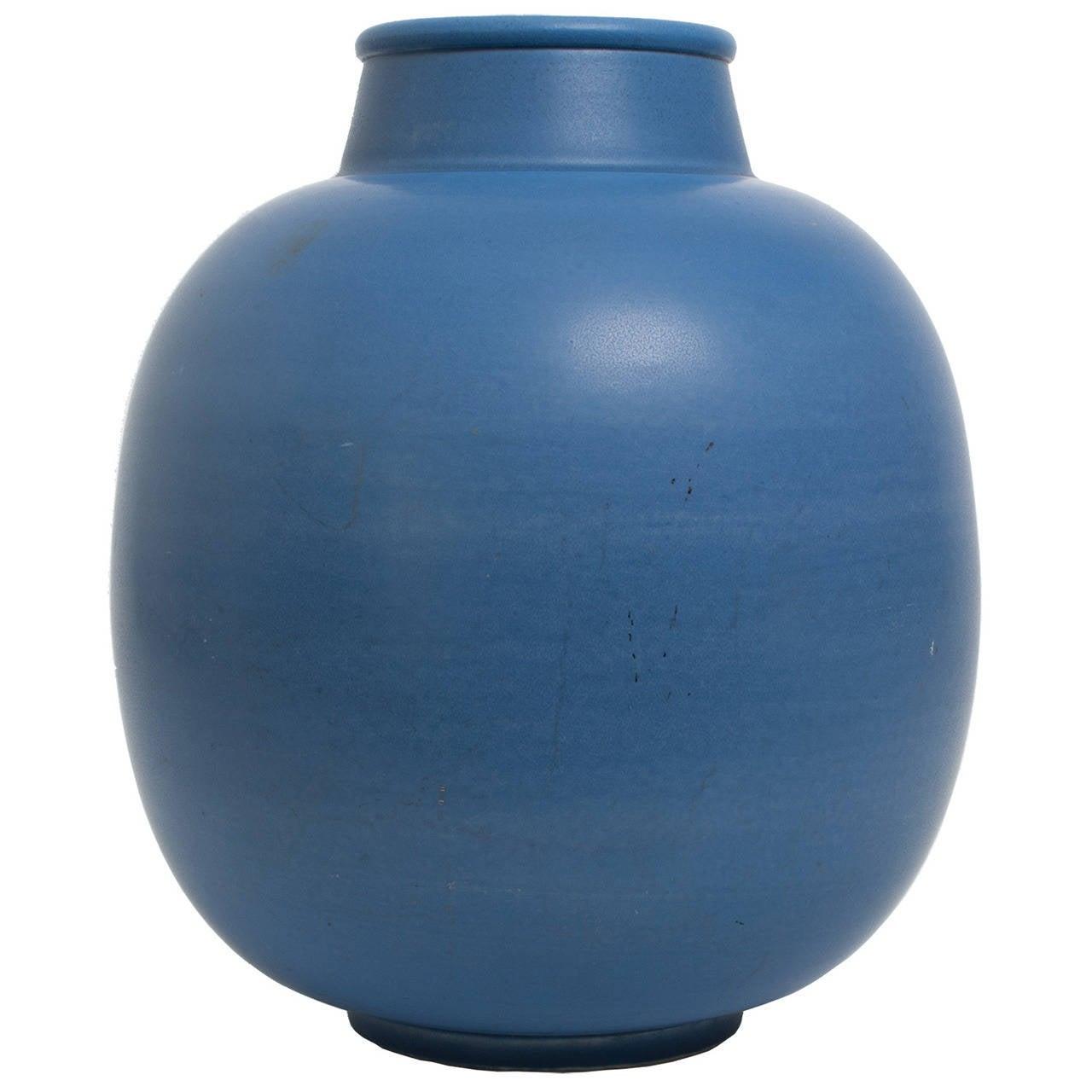 Swedish Art Deco Ceramic Blue Vase by Gertrud Lonegren
