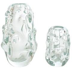 Two Scandinavian Modern Swedish Midcentury Glass Vases from Kosta