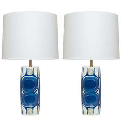 Pair of Danish Mid Century Modern Porcelain Lamps Designed by Inge-Lise Koefoed