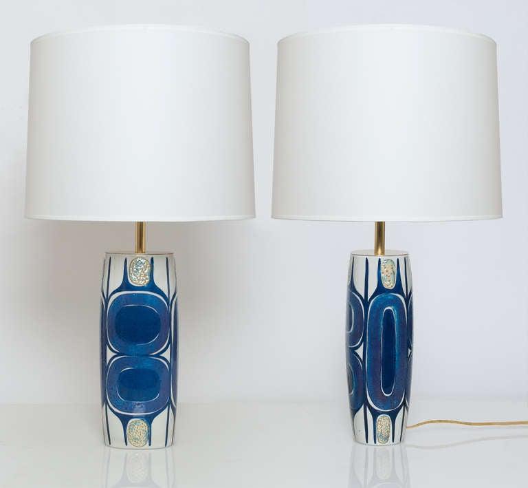 Scandinavian Modern Pair of Danish Mid Century Modern Porcelain Lamps Designed by Inge-Lise Koefoed