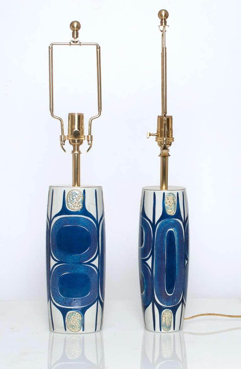 Polished Pair of Danish Mid Century Modern Porcelain Lamps Designed by Inge-Lise Koefoed