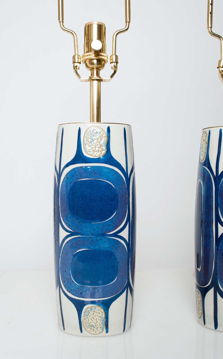 Pair of Danish Mid Century Modern Porcelain Lamps Designed by Inge-Lise Koefoed In Excellent Condition In New York, NY