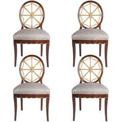 Set Of 4 Swedish Art Deco Chairs Designed By Otto Schulz Circa 1920.