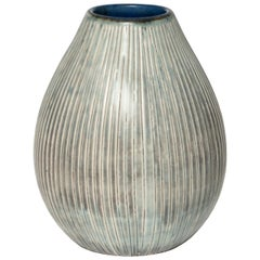 Small Swedish Art Deco Ceramic Vase in Gray Glaze by Gertrud Lonegren