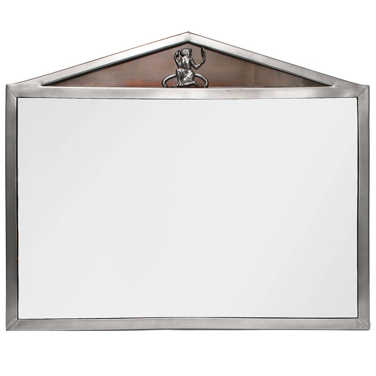 Scandinavian Modern Polished Pewter Mirror with Pediment Top