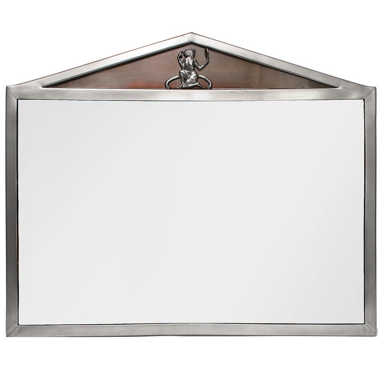 Scandinavian Modern Polished Pewter Mirror with Pediment Top For Sale