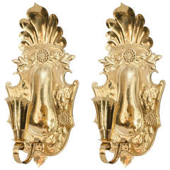 Large Pair of Swedish Hammered Brass Wall Sconces with Single Socket
