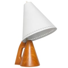Scandinavian Modern Wood Desk Lamp with Lacquered Metal Shade