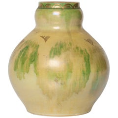 Scandinavian Modern Ceramic Vase in Yellow, Green, Gold by Josef Ekberg