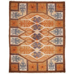 Large Swedish Art Deco Flat Weave Rug with Geometric Design