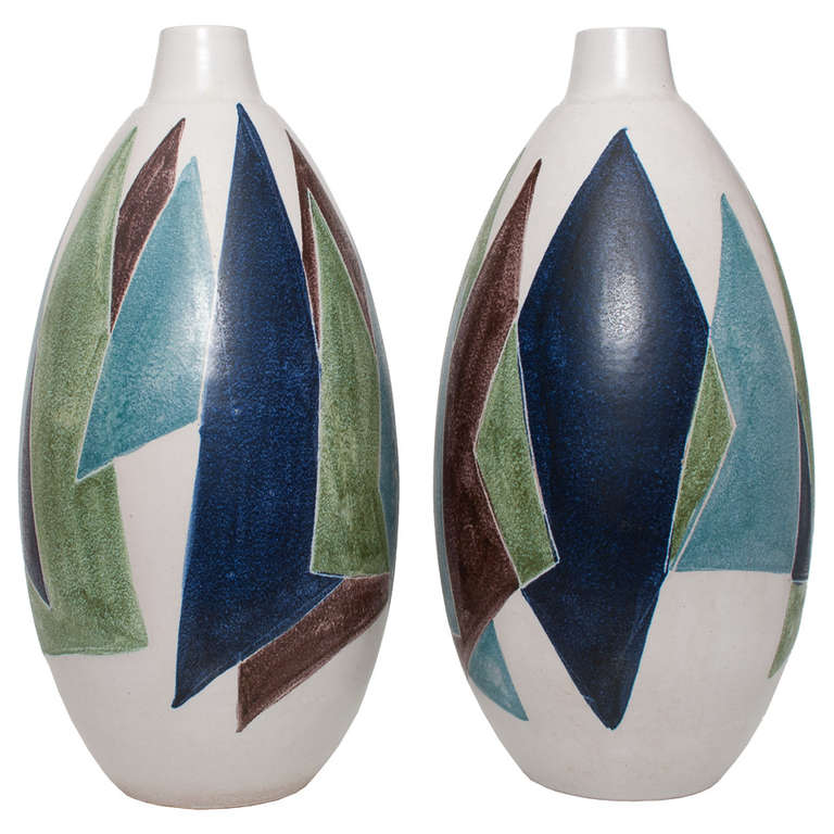 Two Huge Swedish Mid Century Modern Ceramic Vases By Mette Dollar