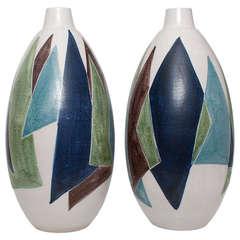 Two Huge Swedish Mid-Century Modern Ceramic Vases by Mette Dollar for Hoganas