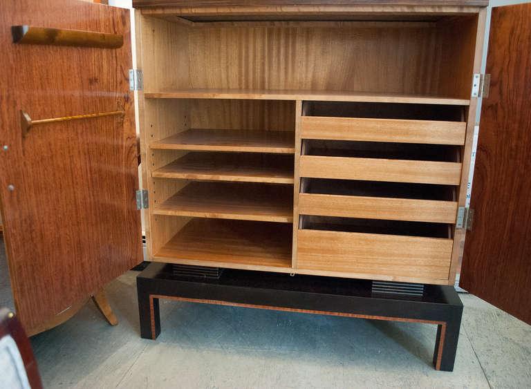 Steel Swedish Art Deco Two-Door Cabinet with Mahogany and Macassar Ebony Veneer For Sale