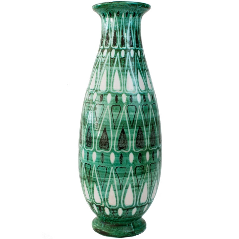 Tall Finnish Art Deco Hand Decorated Ceramic Vase by Kupittaan ...