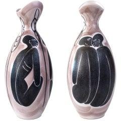 Mid-century Hand Decorated Ceramic Vase by Mette Doller for Hoganas, Sweden