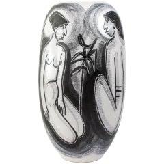 Hand Painted Mette Doller Ceramic Vase Form by Erik Ivarsson for Hoganas, Sweden