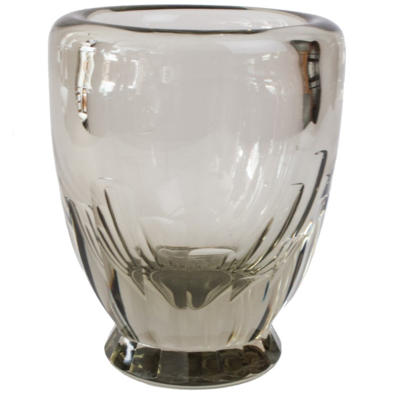 Large swedish art deco geometric etched glass vase at 1stdibs - Deco glace ...