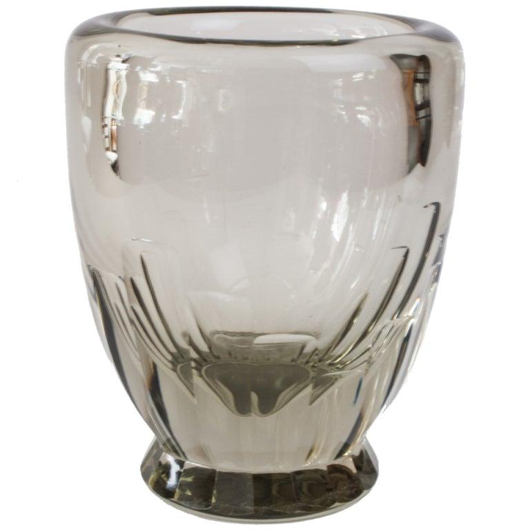 large swedish deco geometric etched glass vase at 1stdibs