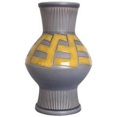 Huge Swedish Art Deco Ceramic Vase by Ewald Dahlskog for Bo Fajans