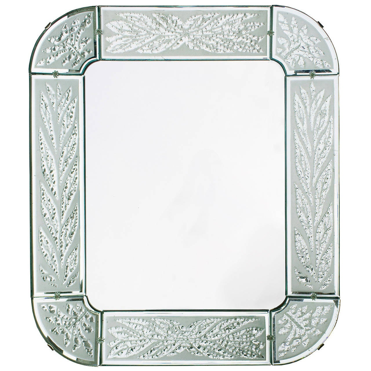 Scandinavian Modern Hand and Acid Etched Frame Mirror