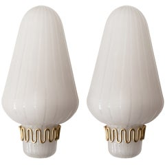 Pair Of Swedish Art Deco Glass And Brass Sconces Circa 1940.
