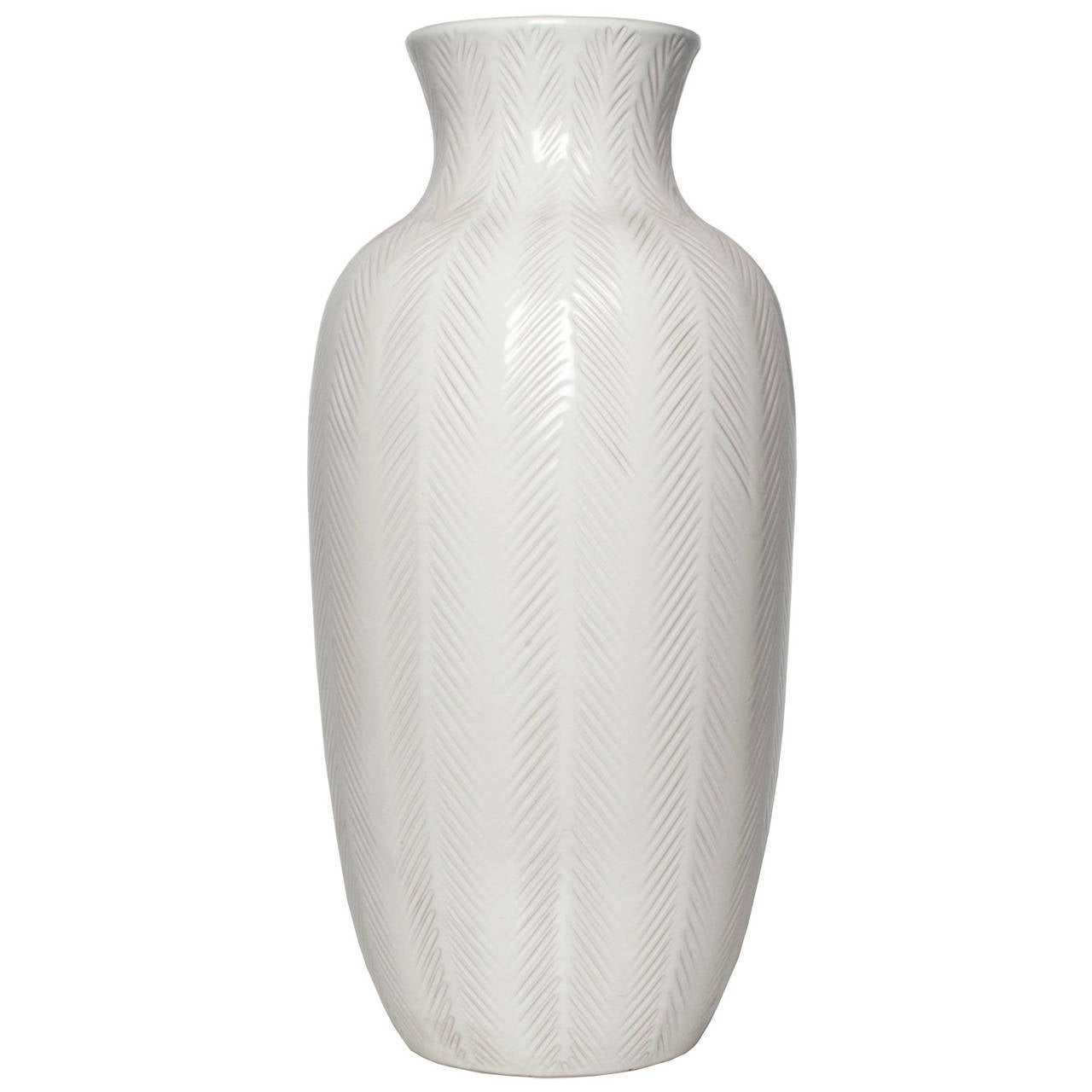 Large Swedish Art Deco White Ceramic Vase By Anna Lisa